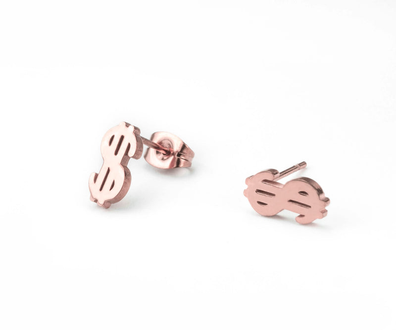 Beautiful Unique Dollar Sign Solid Rose Gold Stud Earrings By Jewelry Lane