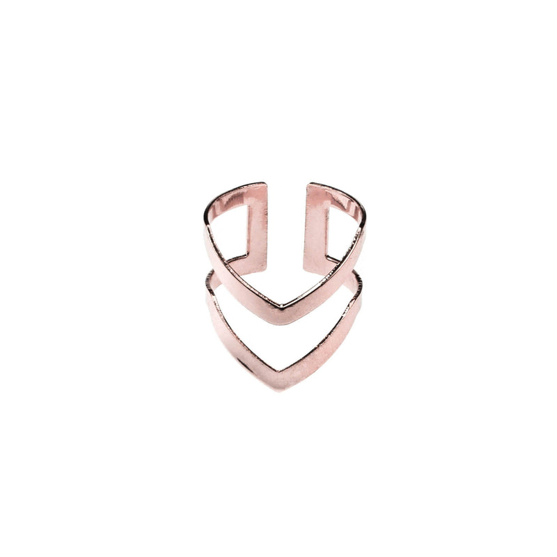 Classic Elegance Double Chevron Cuff Rose Gold Vermeil Ring By Jewelry Lane