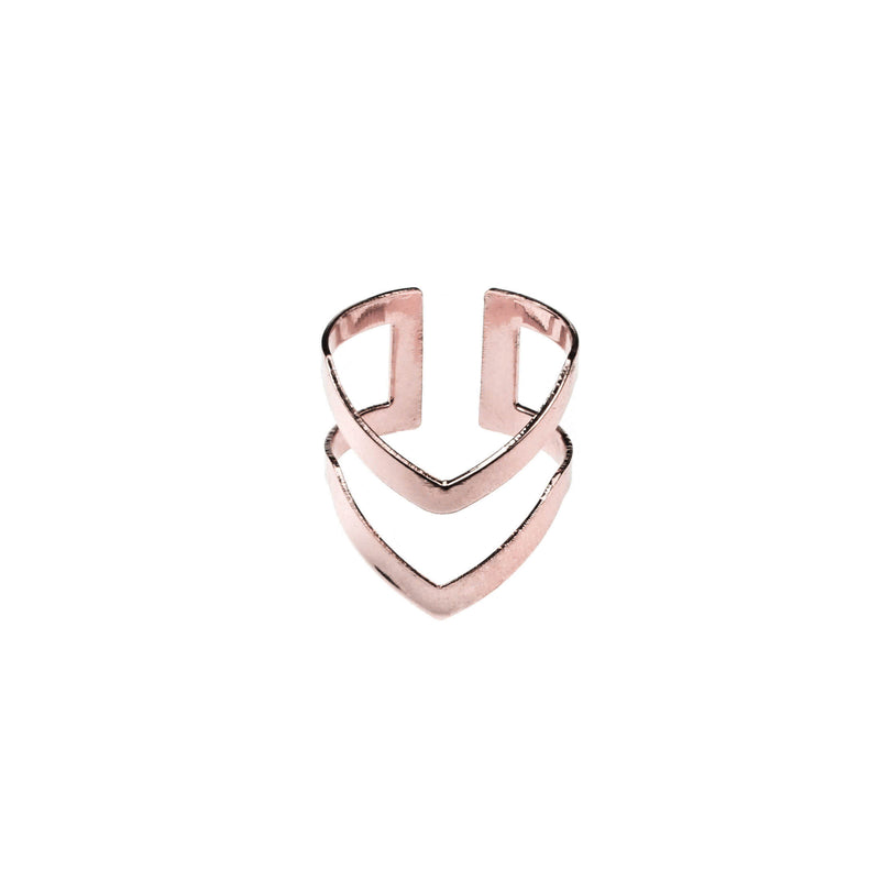 Classic Elegance Double Chevron Cuff Solid Rose Gold Ring By Jewelry Lane