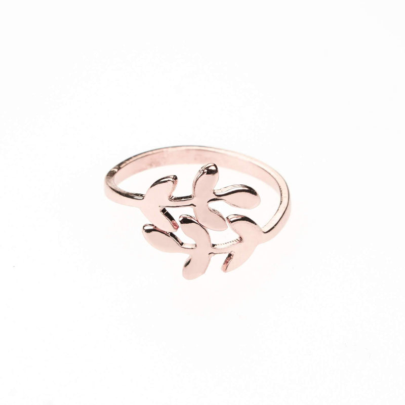 Beautiful Olive Leaf Rose Gold Vermeil Ring By Jewelry Lane