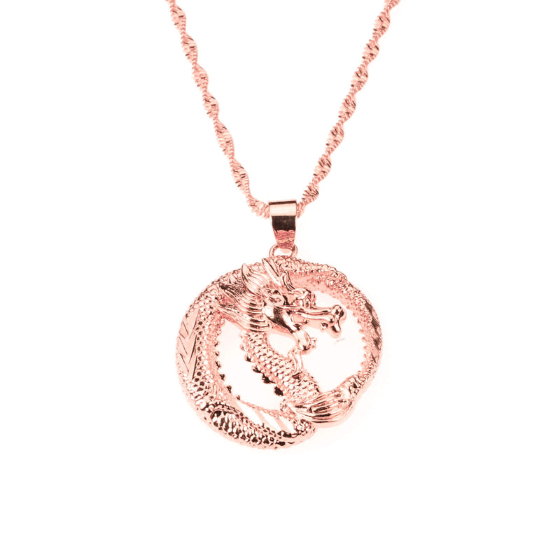 Beautiful Unique Round Dragon Style Solid Rose Gold Pendant By Jewelry Lane
