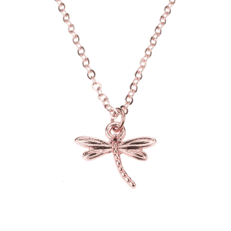 Beautiful Charming Dragonfly Solid Rose Gold Pendant By Jewelry Lane