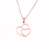 Beautiful Modern Dual Heart Love Solid Rose Gold Pendant By Jewelry Lane