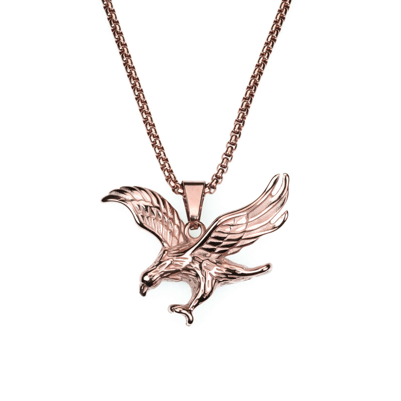 Exquisite Vintage Striking Eagle Solid Rose Gold Pendant By Jewelry Lane
