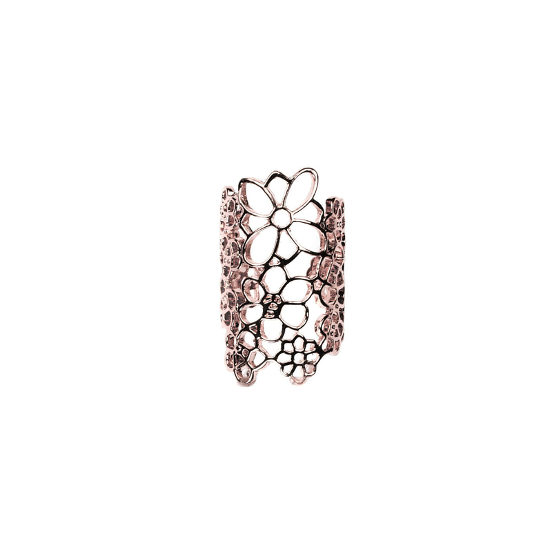 Beautiful Elongated Flower Cuff Design Solid Rose Gold Rings By Jewelry Lane