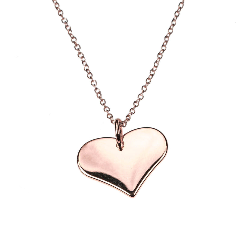 Charming Beautiful Flat Heart Design Solid Rose Gold Pendant By Jewelry Lane