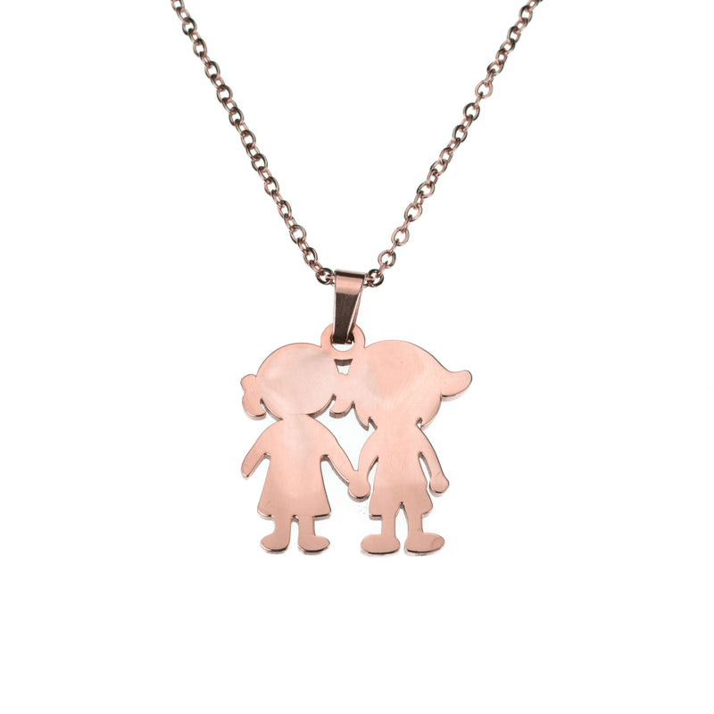 Beautiful Charming Friendship Love Solid Rose Gold Necklace By Jewelry Lane