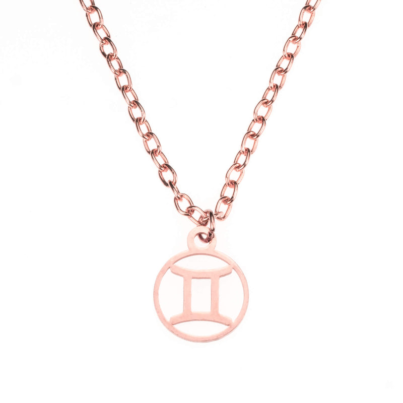 Charming Zodiac Gemini Minimalist Solid Rose Gold Pendant By Jewelry Lane