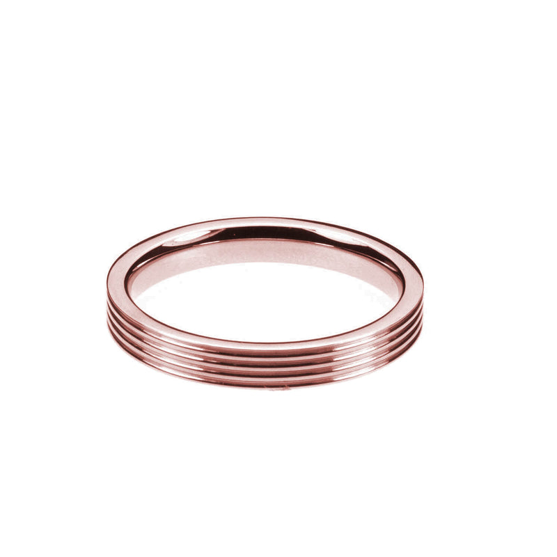 Smooth Comfortable 4 Grooved Solid Rose Gold Band Ring By Jewelry Lane