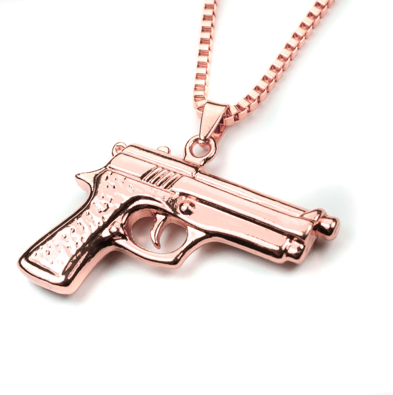 Modern Bold Handgun Style Solid Rose Gold Necklace By Jewelry Lane