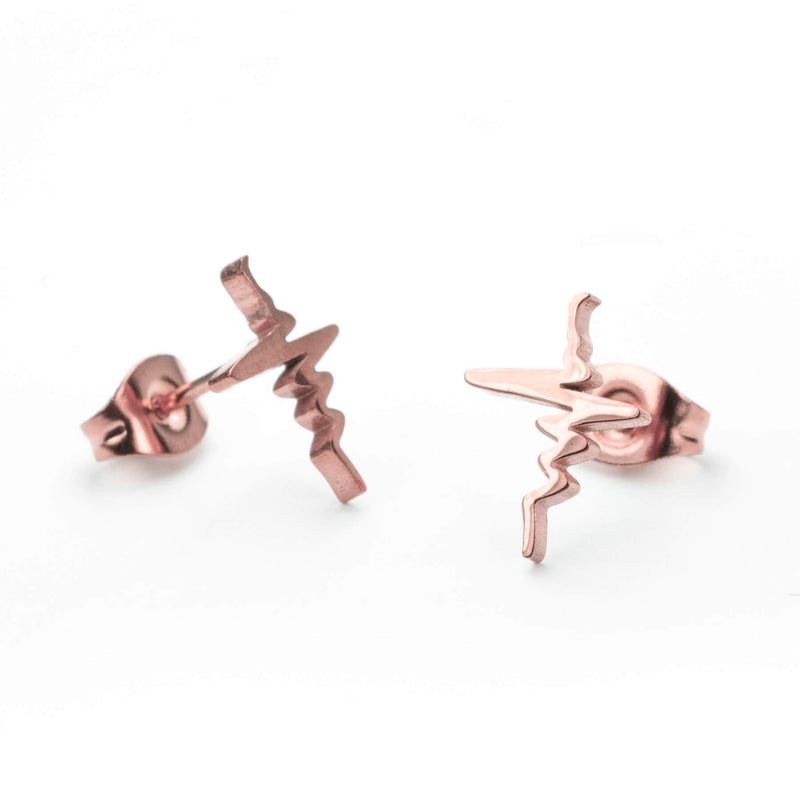 Beautiful Solid Rose Gold Heart Beat Earrings by Jewelry Lane