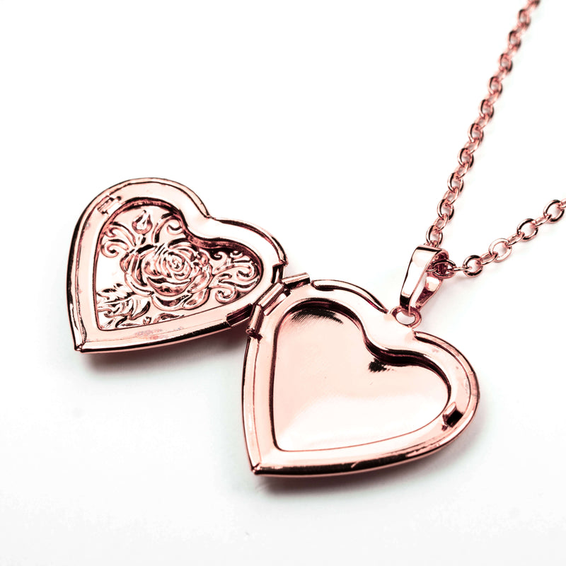 Beautiful Charming Heart Love Locket Solid Rose Gold Necklace By Jewelry Lane
