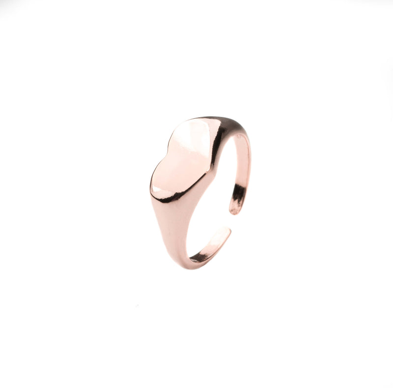 Beautiful Charming Heart Signet Solid Rose Gold Ring By Jewelry Lane
