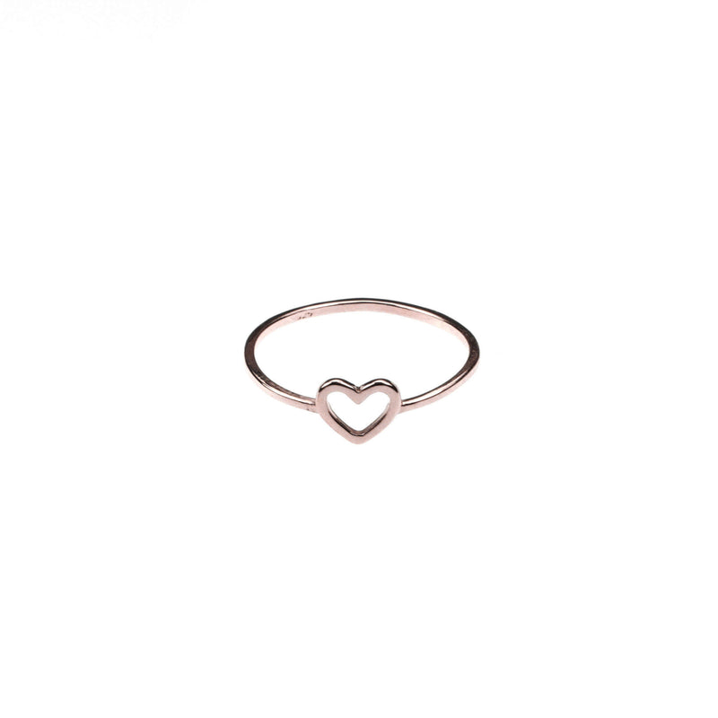 Beautiful Simple Open Heart Love Stacker Solid Rose Gold Ring By Jewelry Lane
