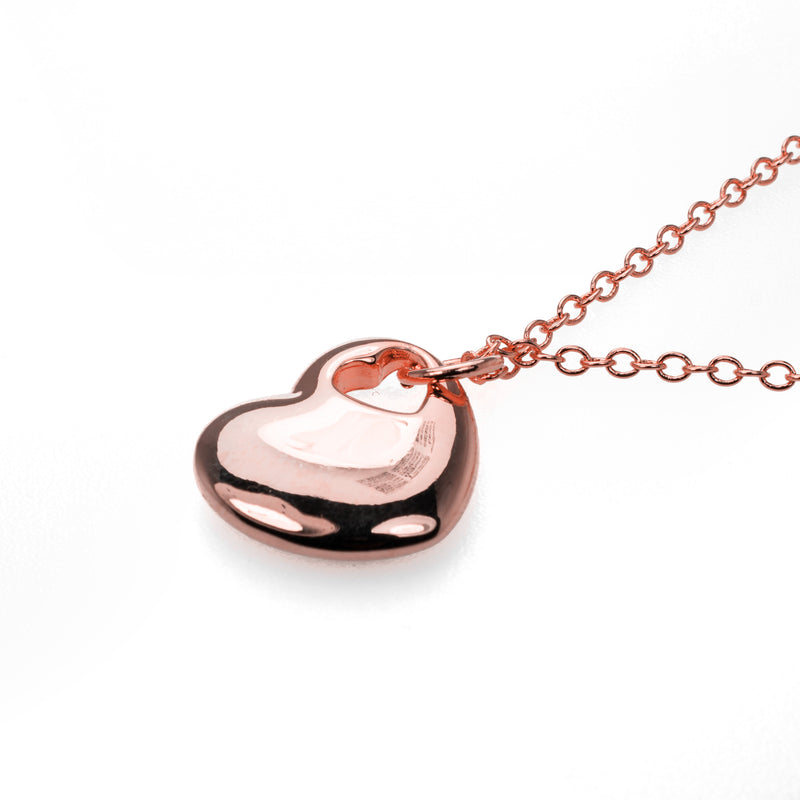 Beautiful Charming Heart Shaped Solid Rose Gold Pendant By Jewelry Lane