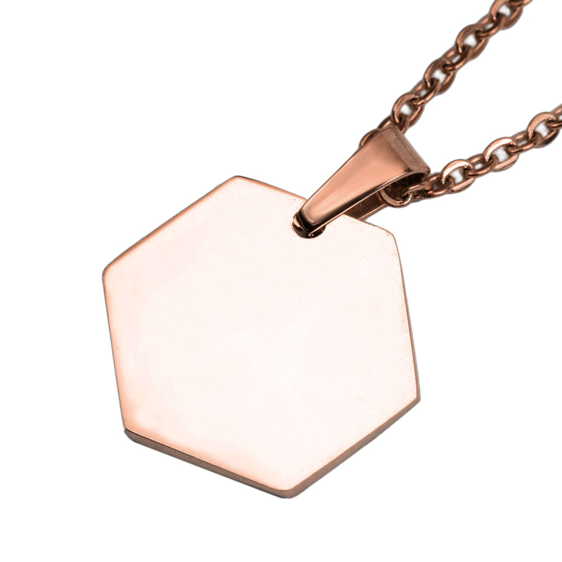 Beautiful Simple Plain Hexagon Style Solid Rose Gold Pendant By Jewelry Lane