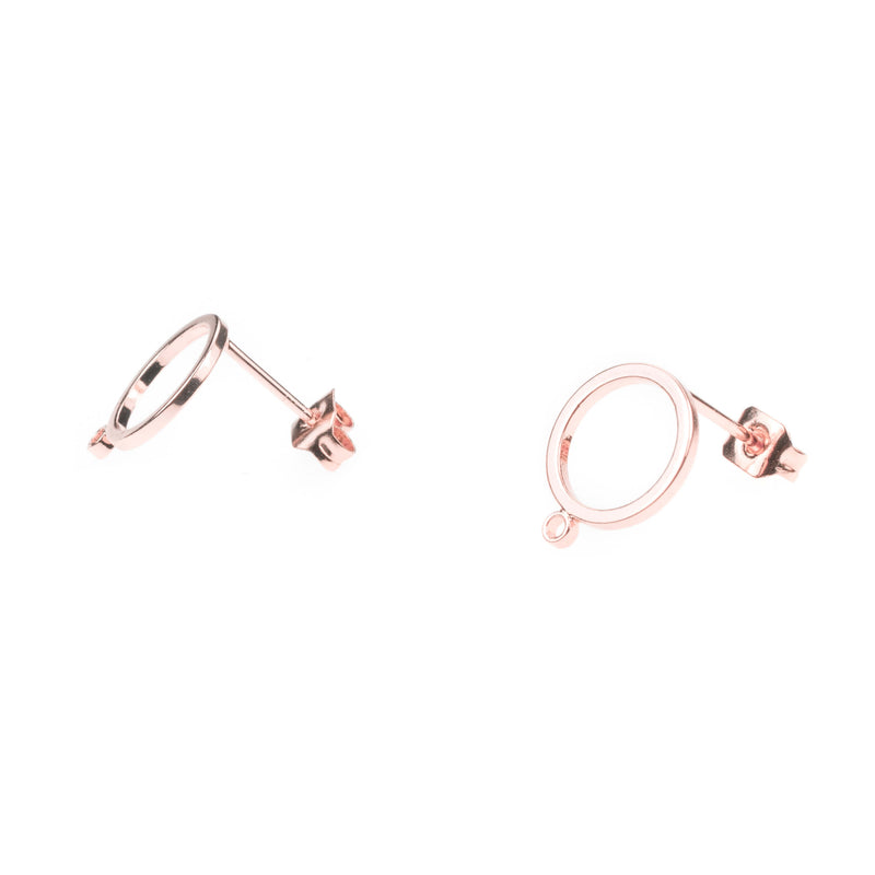 Beautiful Simple Evergreen Hoop Solid Rose Gold Earrings By Jewelry Lane