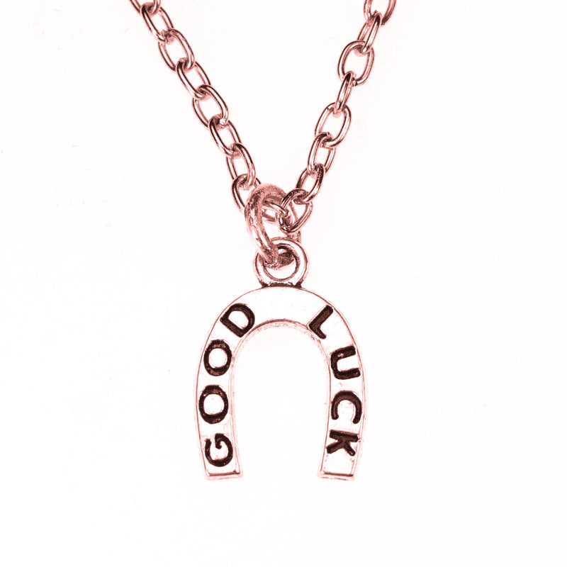 Beautiful Auspicious HorseShoe Good Luck Solid Rose Gold Pendant By Jewelry Lane