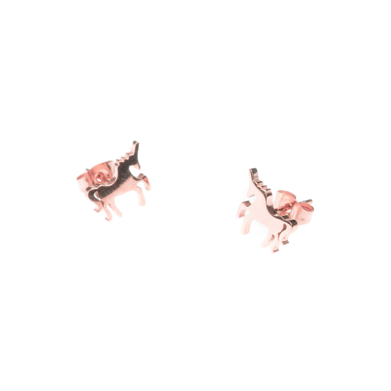 Elegant Unique Horse Stud Solid Rose Gold Earrings By Earrings