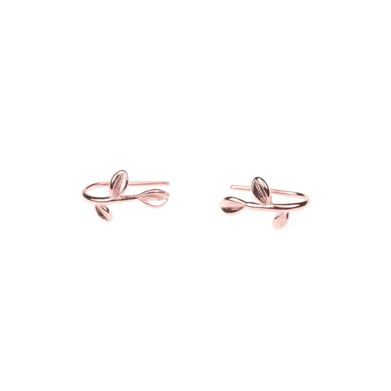 Beautiful Modern Leaf Design Solid Rose Gold Earrings By Jewelry Lane