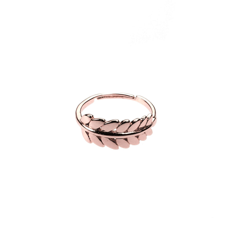 Beautiful Elegance Leaf Stacker Solid Rose Gold Ring By Jewelry Ring