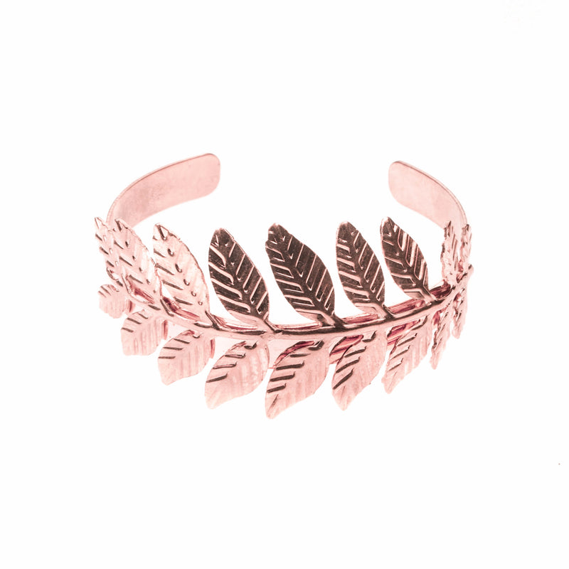 Beautiful Modern Leaf Cuff Design Solid Rose Gold Bangle By Jewelry Lane