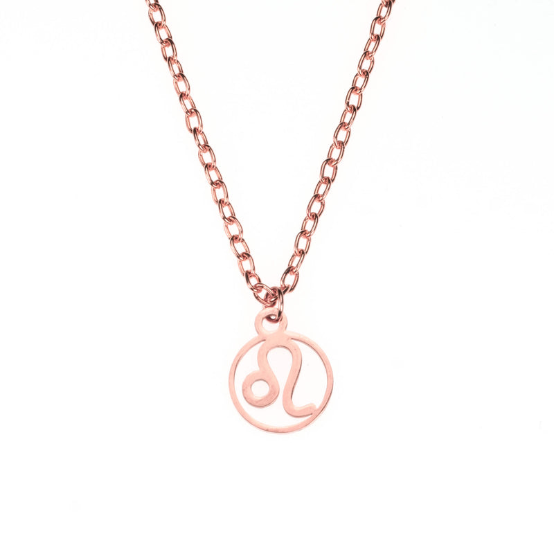 Charming Zodiac Leo Minimalist Solid Rose Gold Pendant By Jewelry Lane
