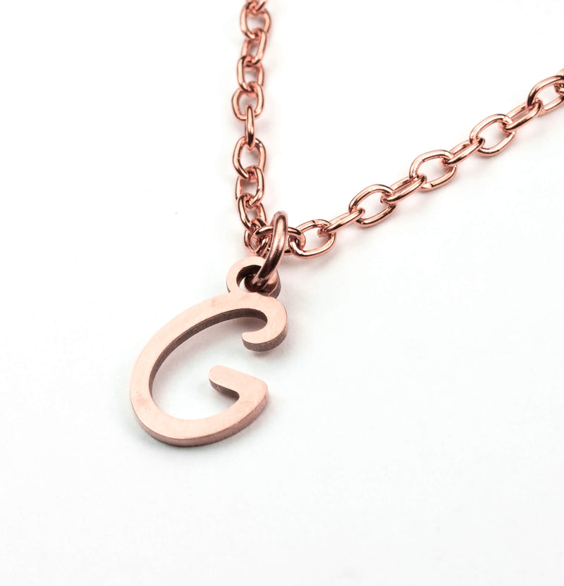 Beautiful Polished Letter G Solid Rose Gold Pendant By Jewelry Lane