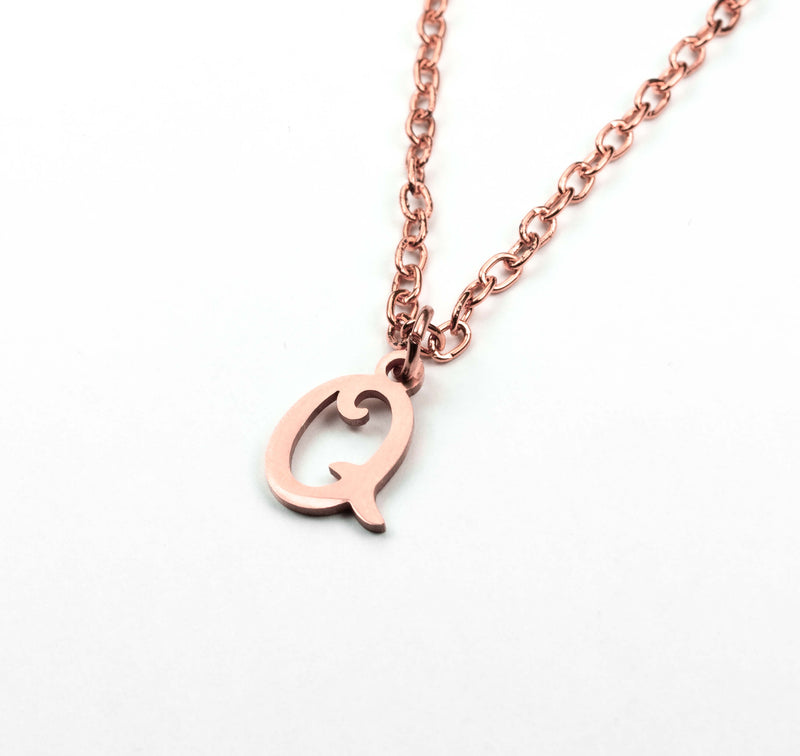 Beautiful Polished Letter Q Solid Rose Gold Pendant By Jewelry Lane