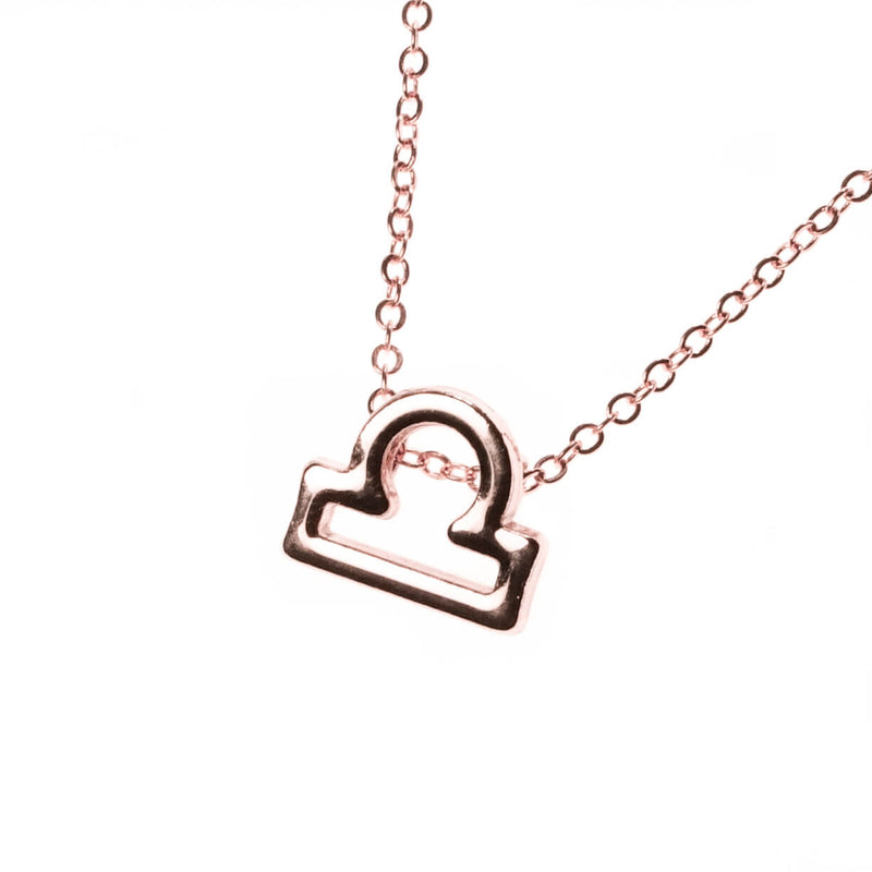 Beautiful Design Zodiac Chic Libra Solid Rose Gold Pendant By Jewelry Lane