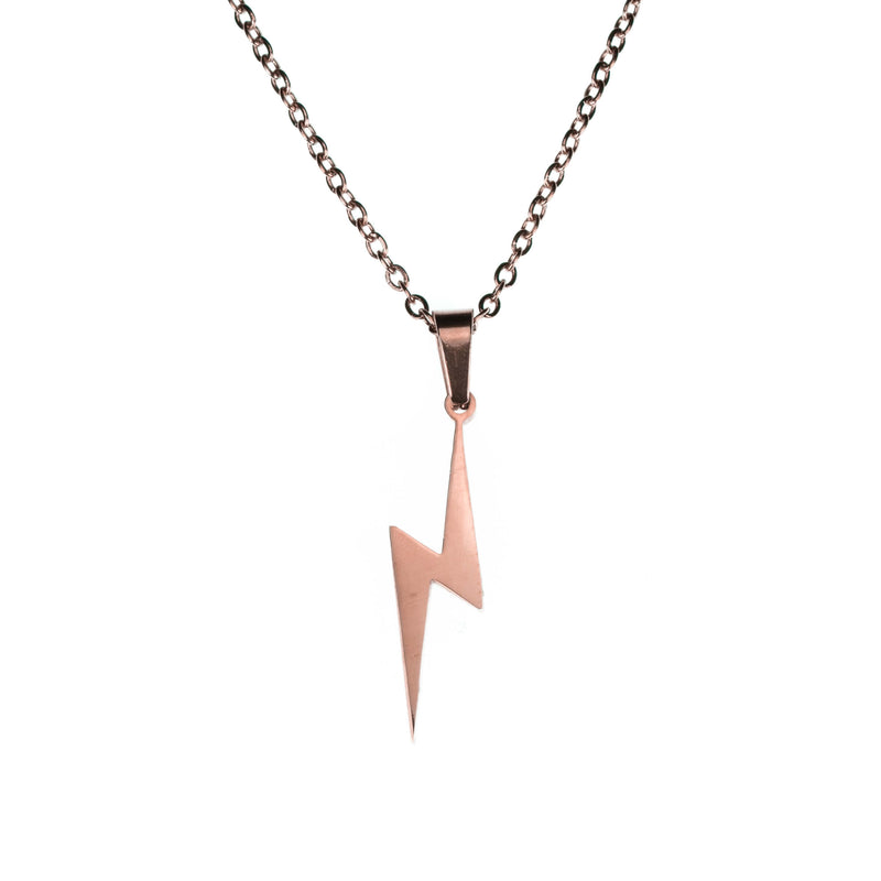 Beautiful Unique Lightning Bolt Solid Rose Gold Pendant By Jewelry Lane