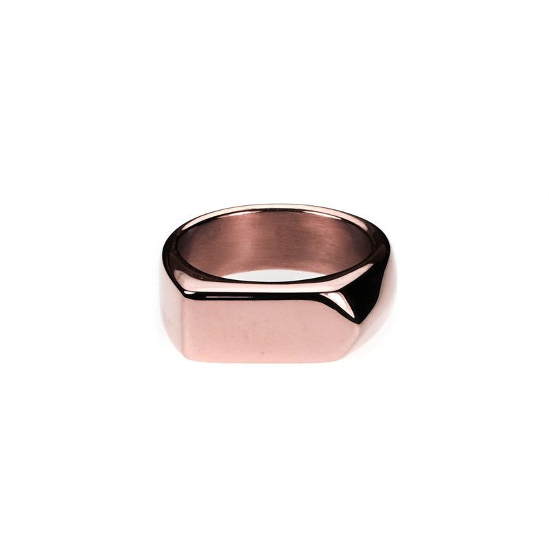 Elegant Beautiful Long Signet Solid Rose Gold Ring By Jewelry Lane