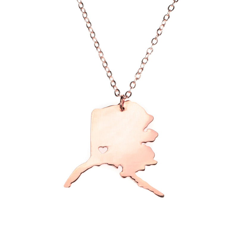 Beautiful Modern Love Alaska Map Design Solid Rose Gold Necklace By Jewelry Lane