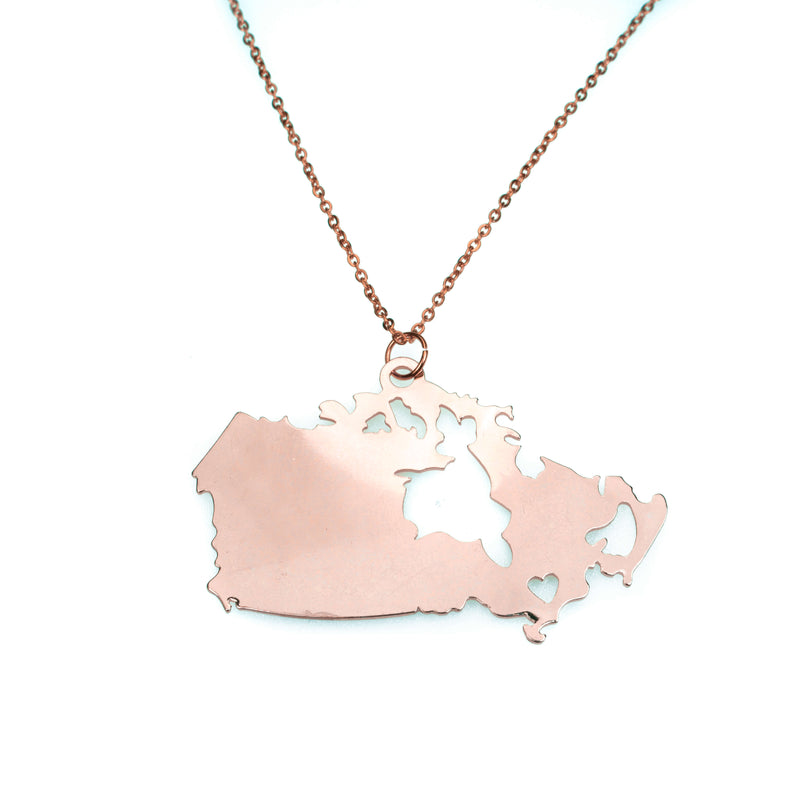 Beautiful Modern Canada Map Love Solid Rose Gold Pendant By Jewelry Lane