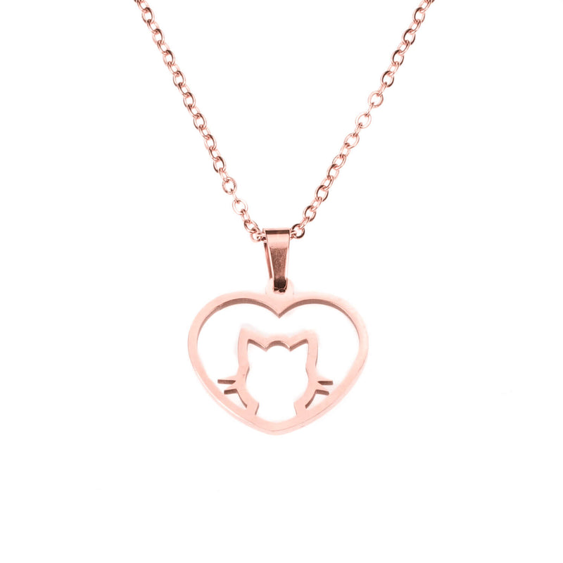 Beautiful Charming Cat Love Heart Solid Rose Gold Pendant By Jewelry Lane