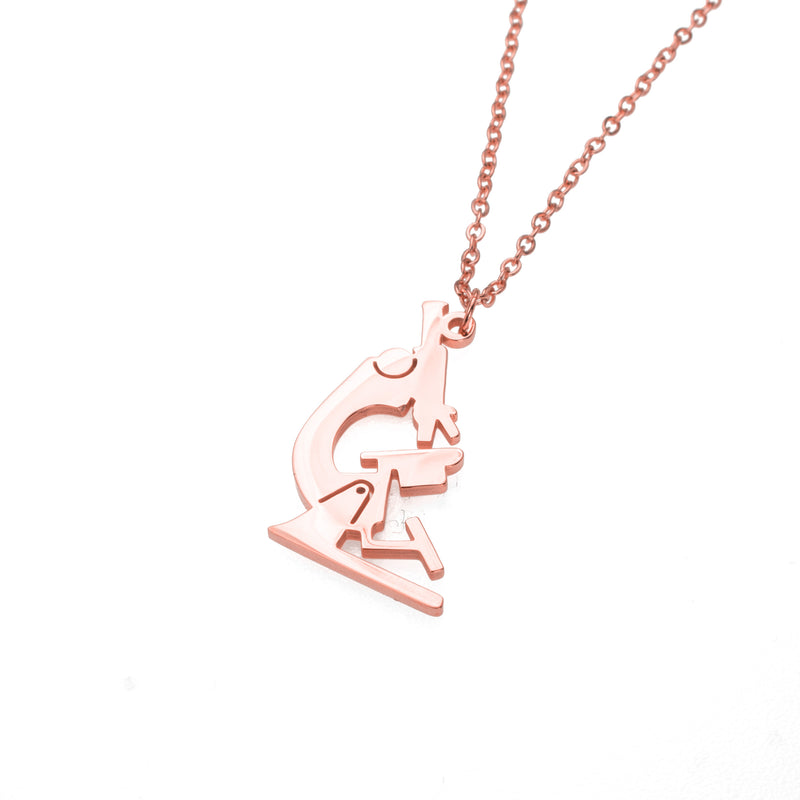 Elegant Unique Microscope Design Solid Rose Gold Pendant By Jewelry Lane