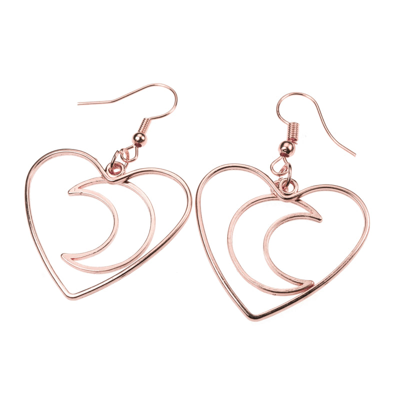 Beautiful Charming Moon In Heart Drop Solid Rose Gold Earrings By Jewelry Lane