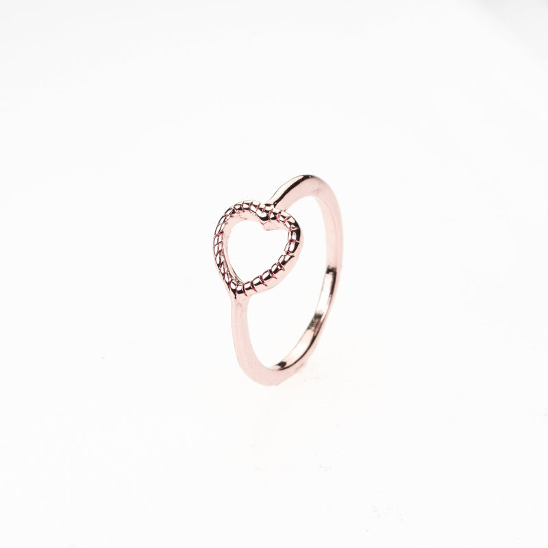 Beautiful Classic Open Heart Stacker Solid Rose Gold Ring By Jewelry Lane