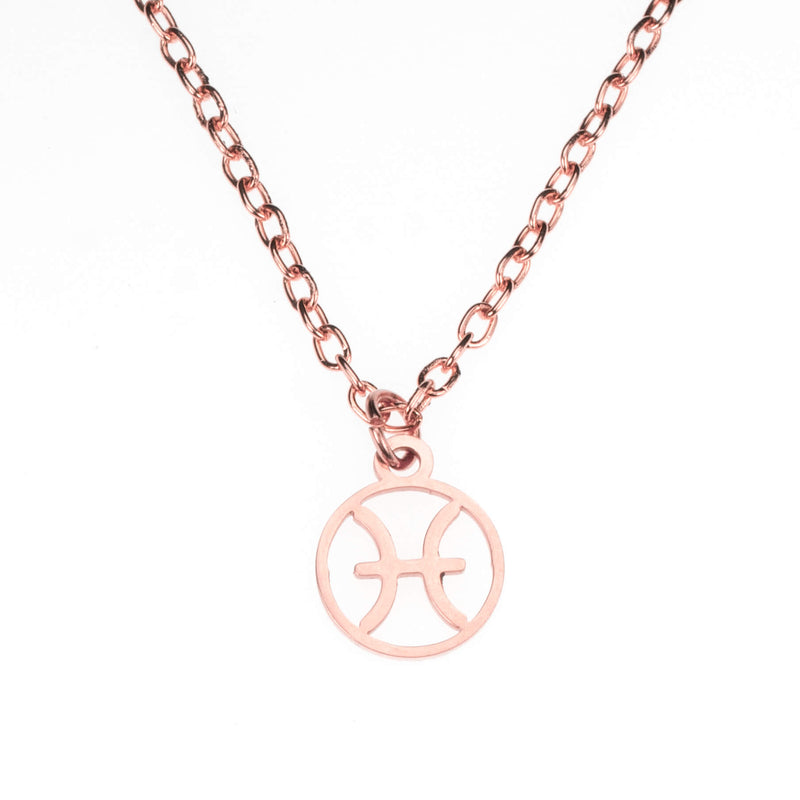 Charming Zodiac Pisces Minimalist Solid Rose Gold Pendant By Jewelry Lane