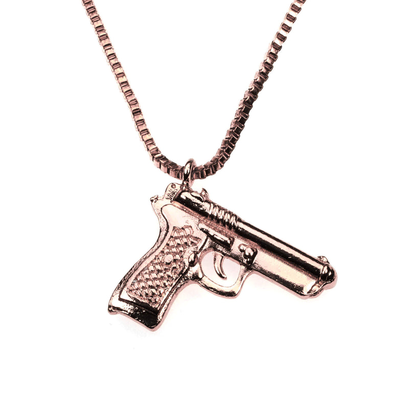 fUnique Modern Weapon Pistol Design Solid Rose Gold Pendant By Jewelry Lane