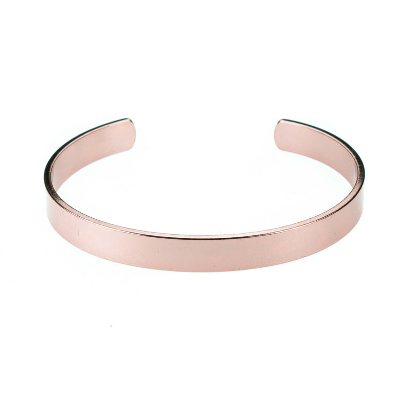 Smart And Chic Open Plain Cuff Solid Rose Gold Bangle By Jewelry Lane