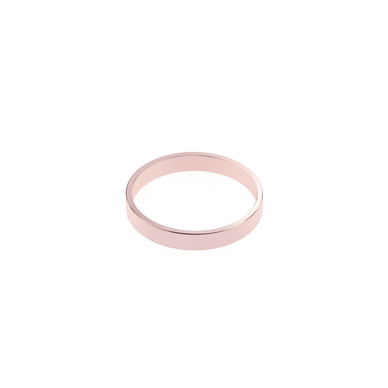 Elegant Plain Simple Evergreen Flat Solid Rose Gold Band Ring By Jewelry Lane