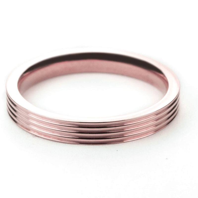 Stylish Grooved Solid Rose Gold Ring By Jewelry Lane