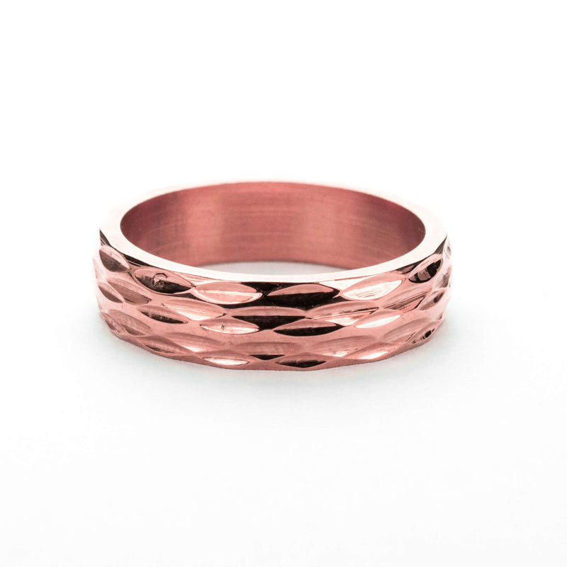 Elegant Geometrical Concave Textured Solid Rose Gold Ring By Jewelry Lane