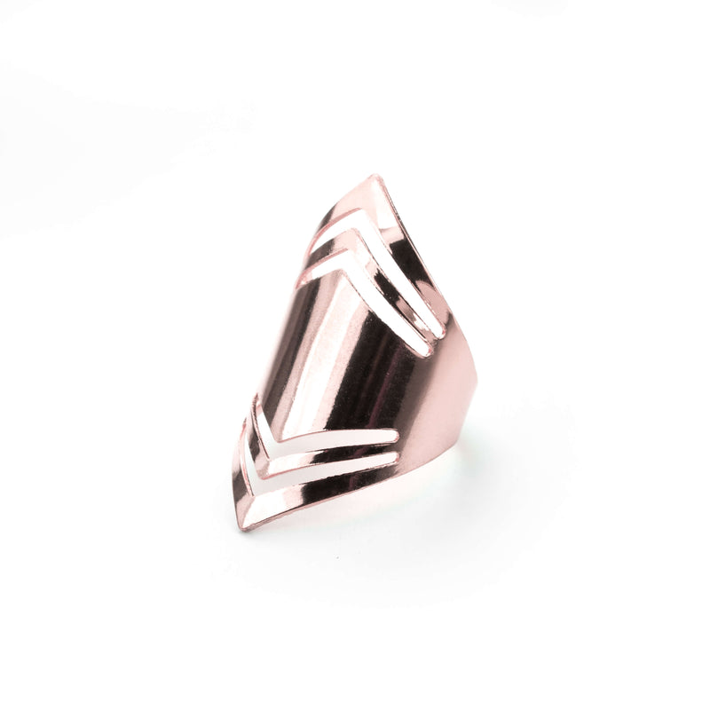 Elegant Amazonian Elongated Solid Rose Gold Ring By Jewelry Lane
