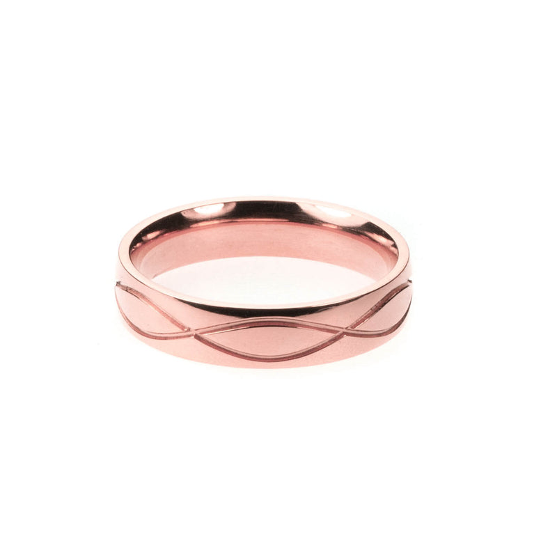 Wave Cut Solid Rose Gold Band By Jewelry Lane