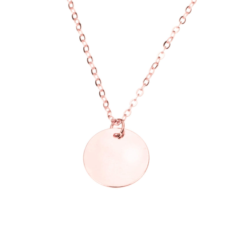 Simple Plain Round Blank Tag Design Solid Rose Gold Pendant By Jewelry Lane