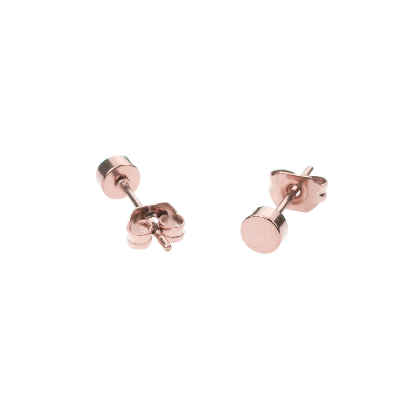 Simple Evergreen Small Round Solid Gold Rose Stud Earrings By Jewelry Lane