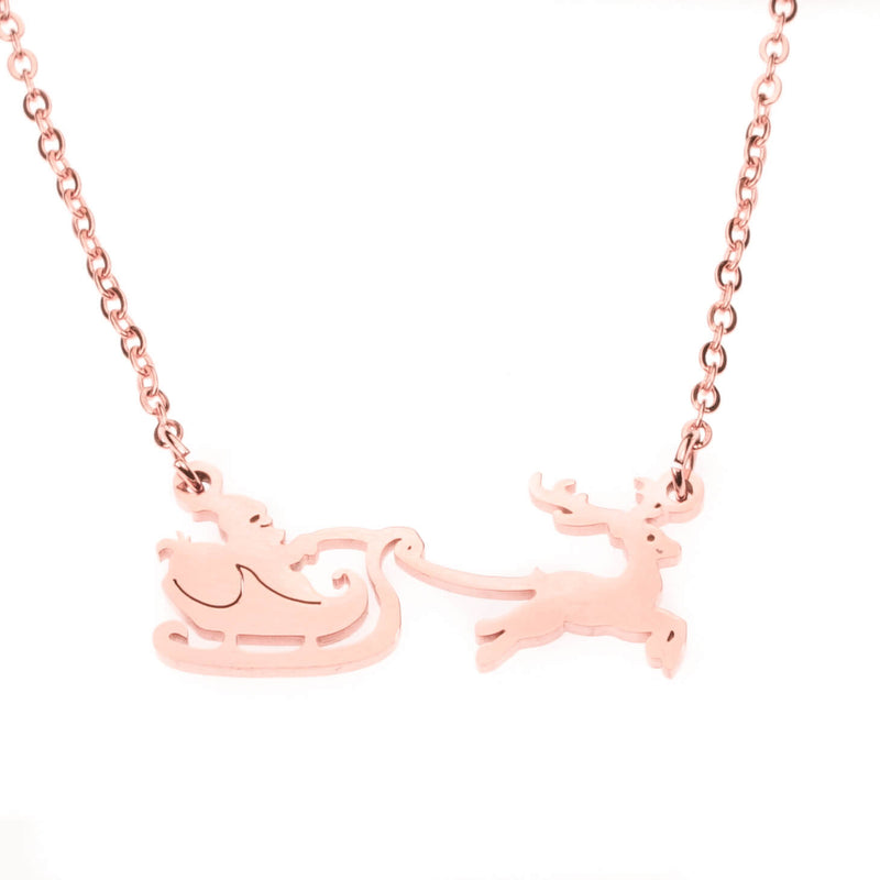 Beautiful Classic Santa Reindeer Solid Rose Gold Necklace By Jewelry Lane