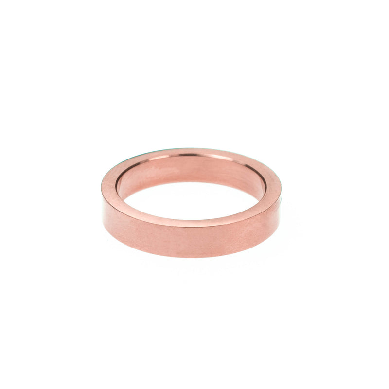 Elegant Simple Evergreen Flat Solid Rose Gold Band Ring By Jewelry Lane